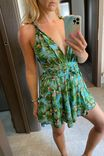 Green/Blue Playsuit - leaves