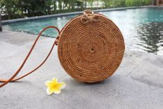 Round Rattan Bag Natural Star